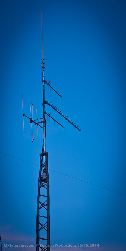 The new antennas installed on 5/16/2014 with the help from some hams with the Brenham Amateur Radio Club