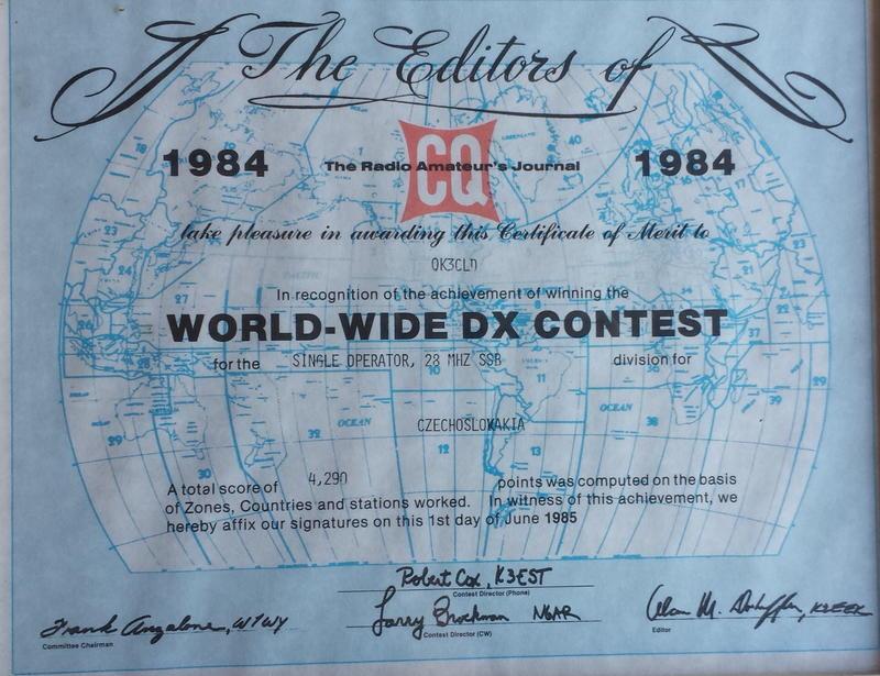 CQ WW 1984 OK3CLD