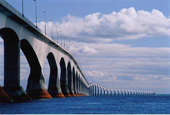 Confederation Bridge, Longest Bridge in the world over ice covered water.
