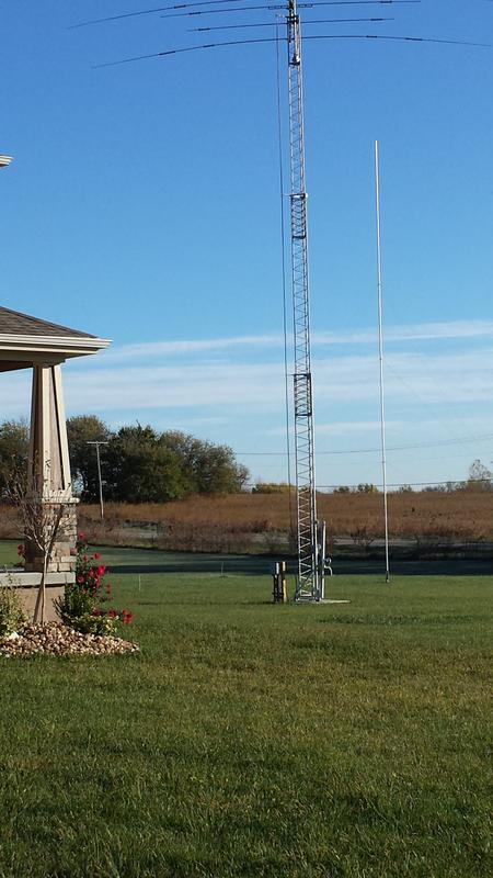 To the right of the tower is my 61 foot full size 80 meter vertical