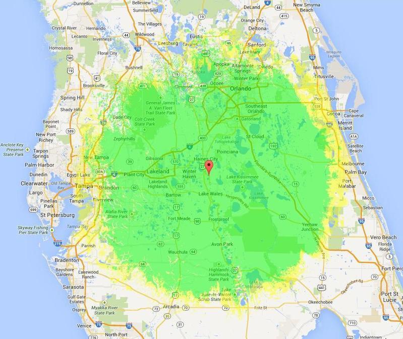 WC4PEM 2m repeater coverage map