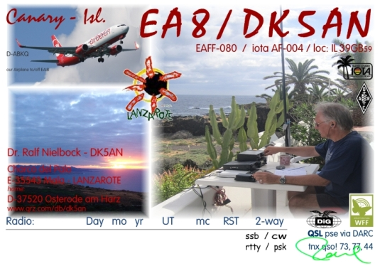 EA8/DK5AN Lanzarote - OP: Dr. Ralf Nielbock