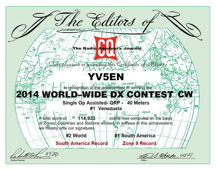 CQ World Wide DX CW Contest 2014,<br />