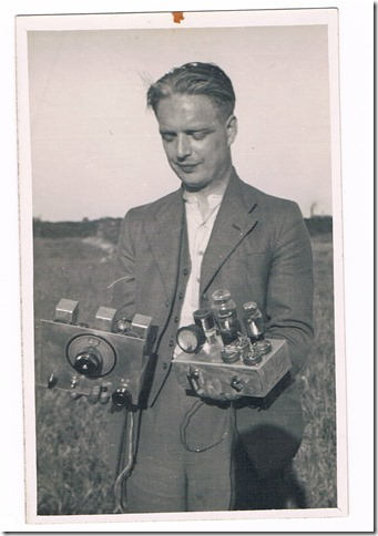 Jack G5TO in 1937, holding some 'bits' as his son Roger describes it...