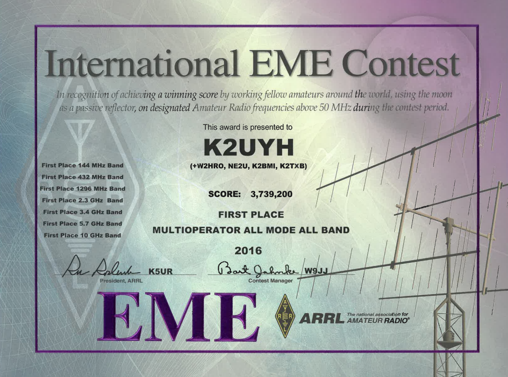 2016 ARRL EME Contest - 1st Place - 3.7M points. Nice to be part of a  winning team! I operated on the 2M band from W2HRO QTH only 12 miles from  K2UYH ...