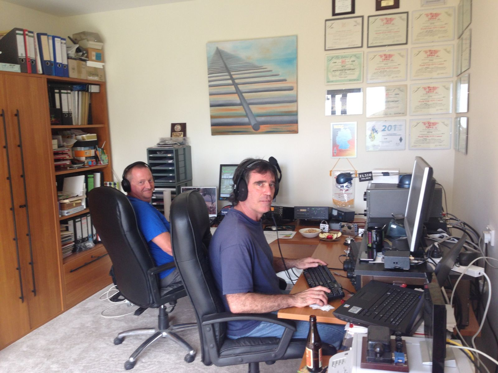 Gary, ZL2iFB & Wes, ZL3TE during ARRL CW contest 2013