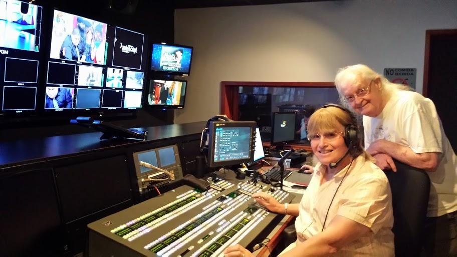 Roger KI6FYF and Carol KP4MD at the Master Control room of WAPA-TV Channel 4, San Juan, Puerto Rico