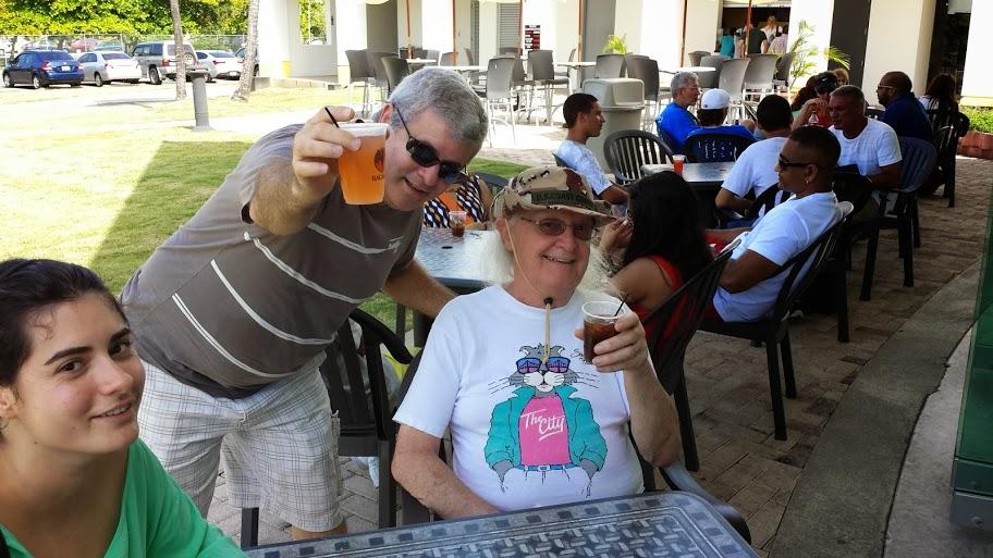 Tony Santiago KP4IA and Roger KI6FYF at the Bacardi Rum Factory, Cataño, Puerto Rico