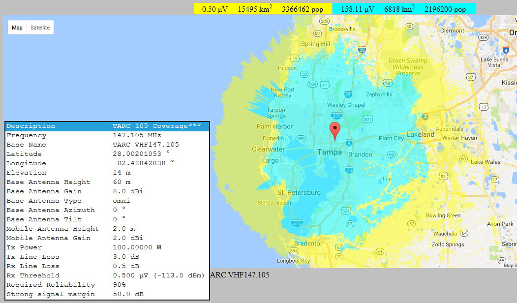N4TP VHF 105 Predicted Coverage area