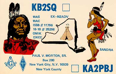 QSL CARD - KB2SQ PAUL -- KA2PBJ SANDRA