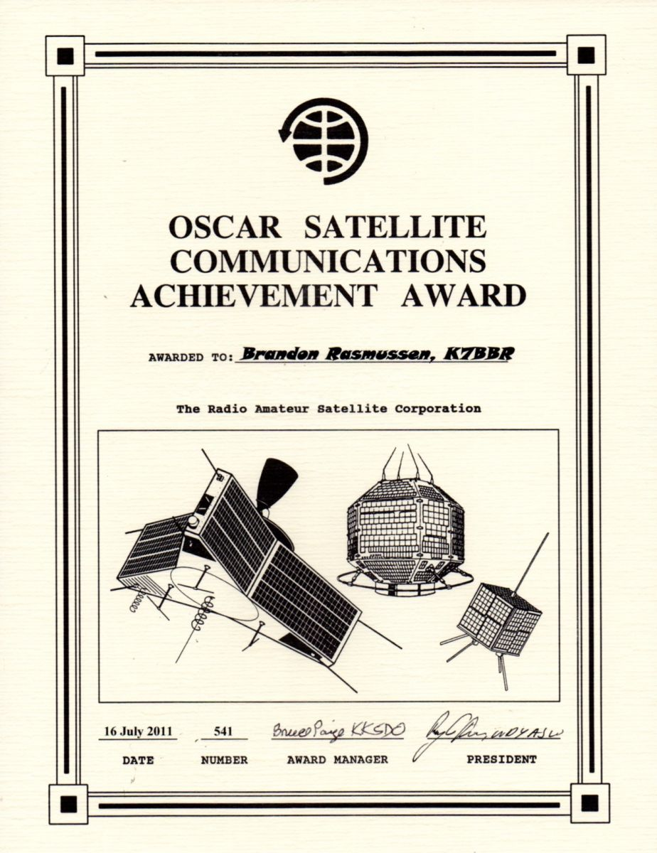 OSCAR Satellite Communications Achievement Award