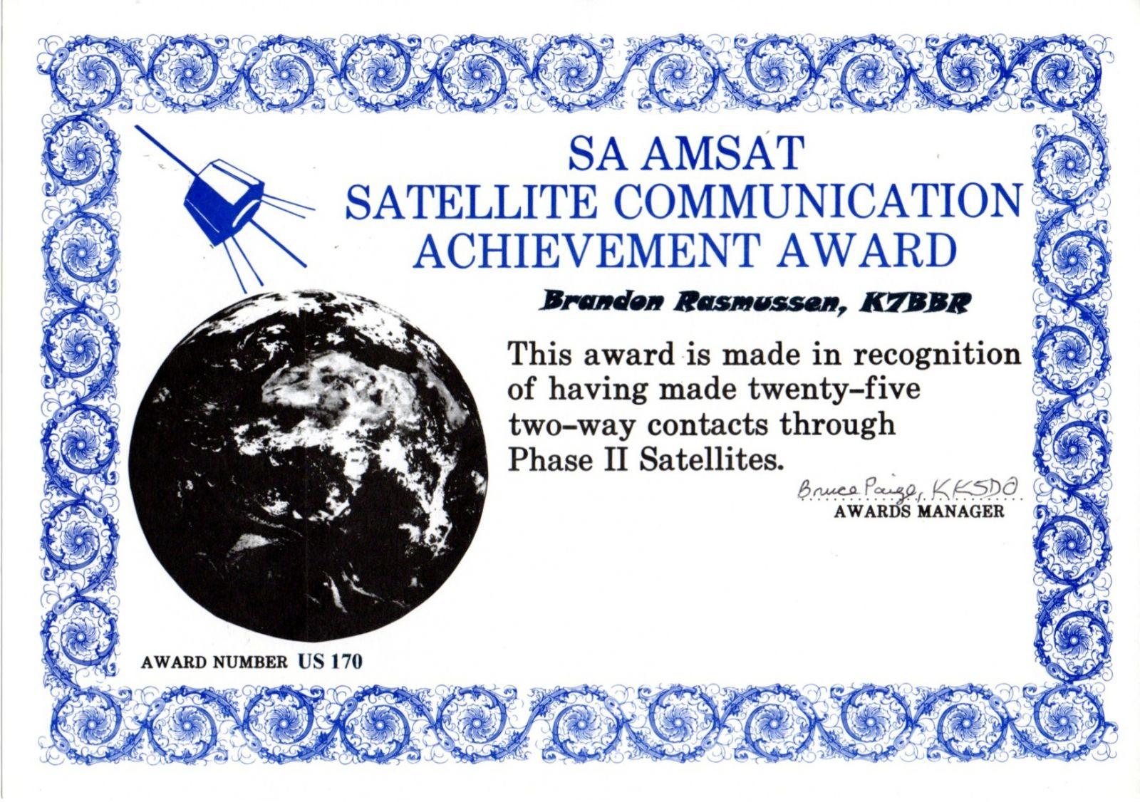 SA AMSAT Satellite Communication Achievement Award