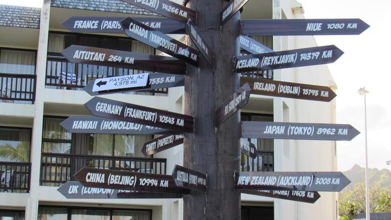 Destinations and distances from Rarotonga