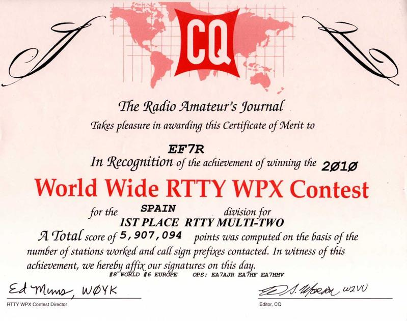 World Wide RTTY WPX Contest 2010 1º Spain, 8º World, 6º Europe. Op EA7AJR, EA7HF, EA7HHV.