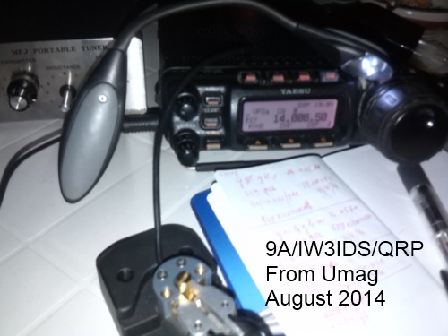9A/iw3ids/qrp from Umag - August 2014 - FT857, MFJ, PADDLE by Begali