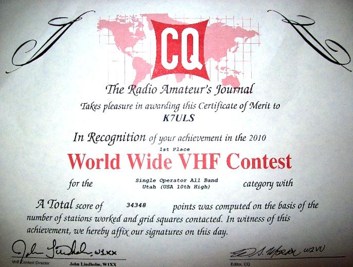 CQ WW VHF 2010
