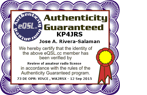 KP4JRS - Authenticity Guaranteed