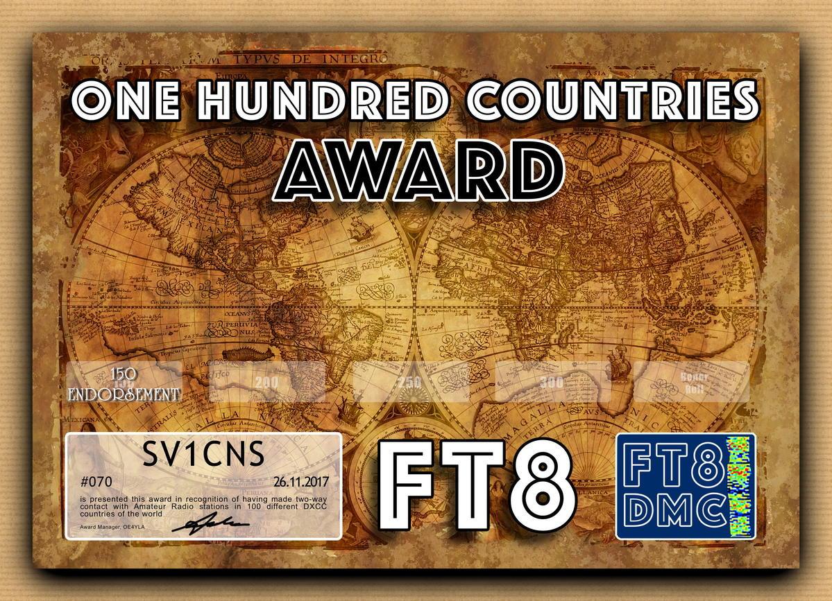 FT8 100 COUNTRIES AWARD