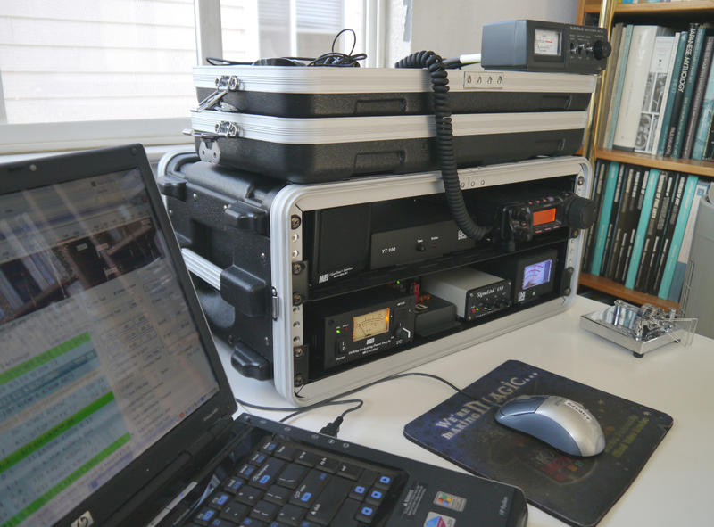 My station: Yaesu FT-857D, LDG YT-100 and SignaLink USB, packaged as a go-kit.
