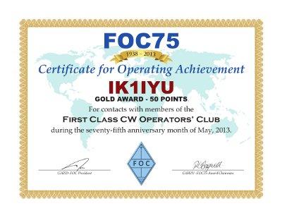 2013: IK1IYU FOC75 Award