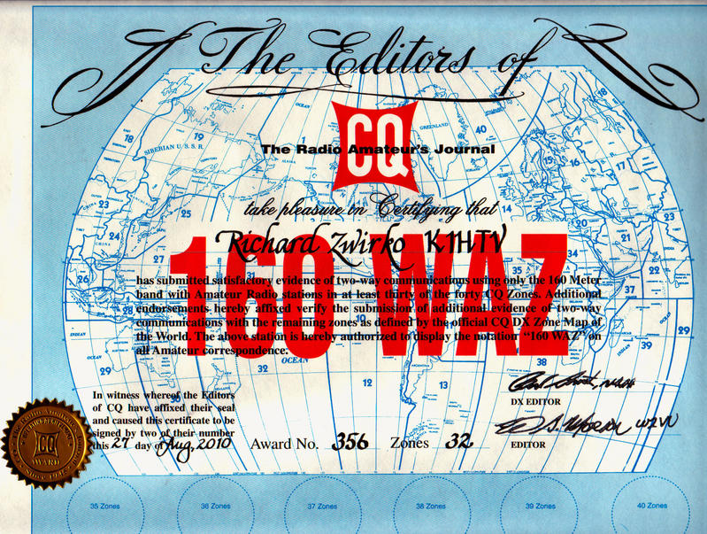 K1JTV 160 Meter WAZ Award