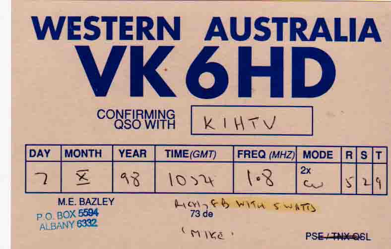 VK6HD (QSL front)