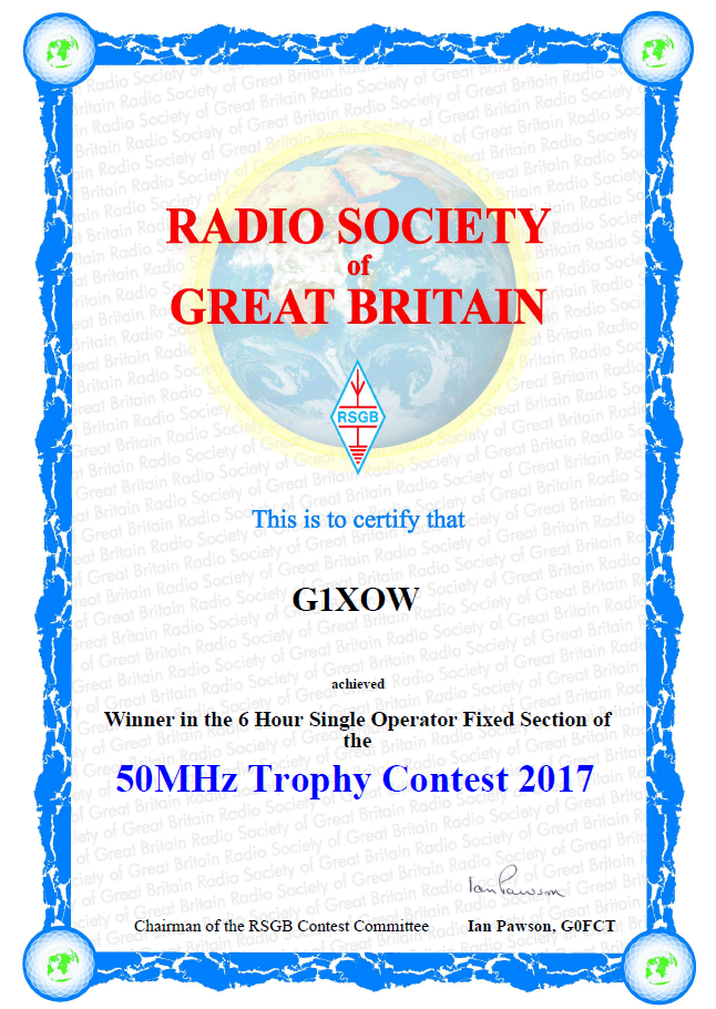 G1XOW contest section winner - RSGB 50MHz trophy 2017
