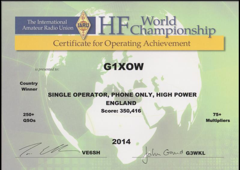 G1XOW IARU HF World championship country winner 2014 contest