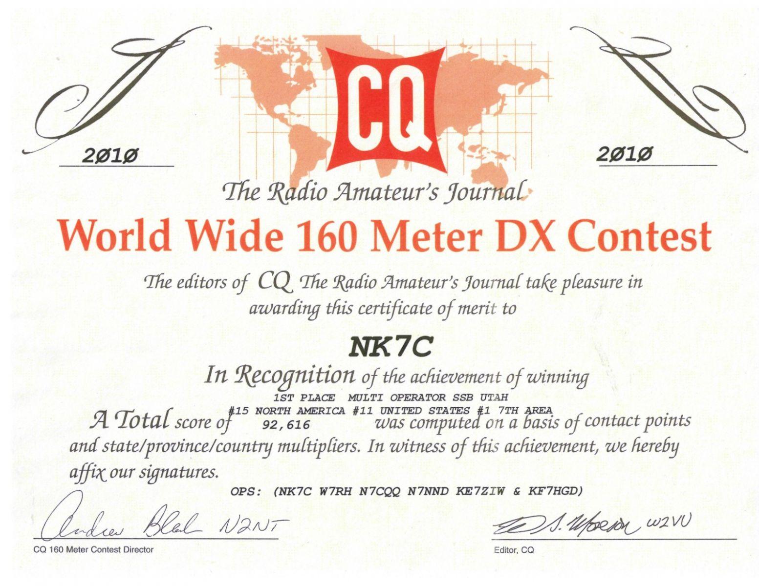 2010 CQ160SSB certificate of Zone 3 wIn/Utah First Place!