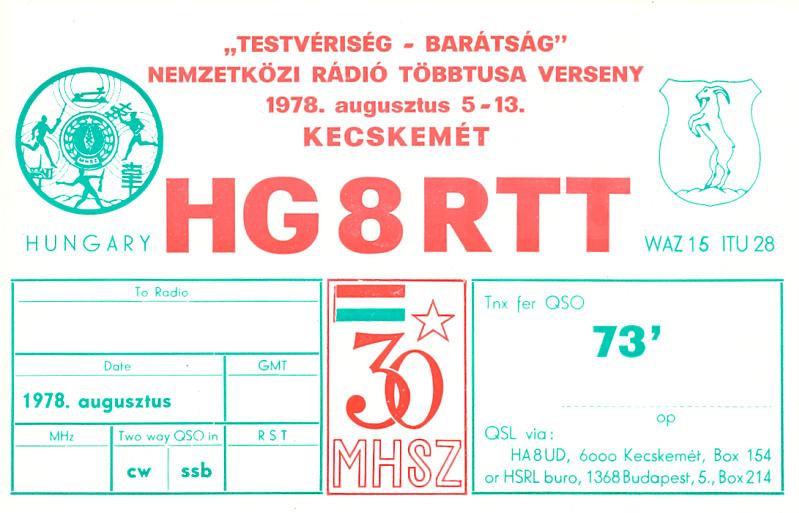 HG8RTT special QSL