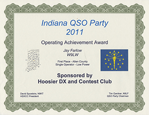 Indiana QSO Party 2011 certificate