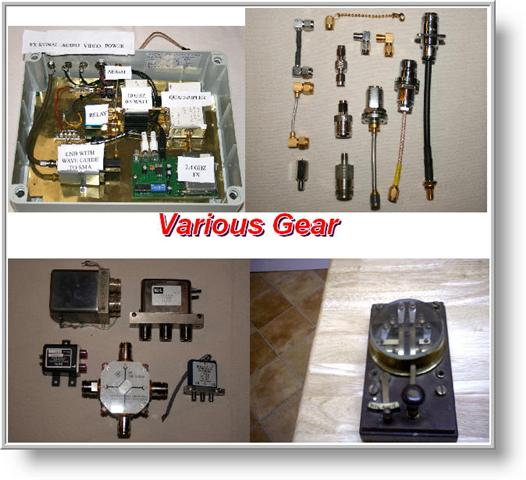 TOP LEFT 10 GHZ TX/RX, TOP RIGHT VARIOUS FITTINGS. BTM LEFT VARIOUS COAXAL RELAYS, BTM RIGHT OLD GPO MORSE KEY.