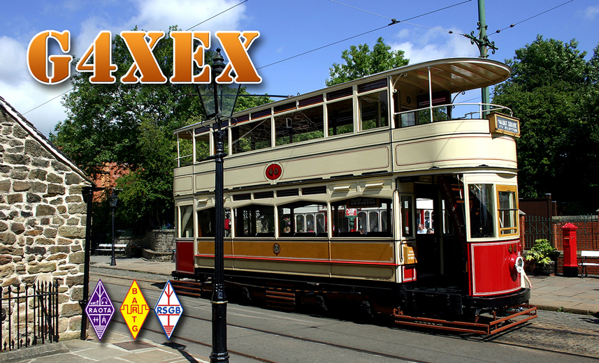 G4XEX QSL CARD TRAMWAYS MUSEUM GB3RS