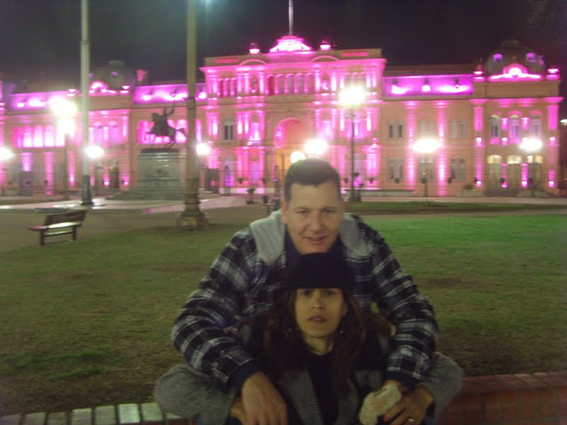 Me and my wife in front of the Casa Rosada is the seat of the president of Argentina.