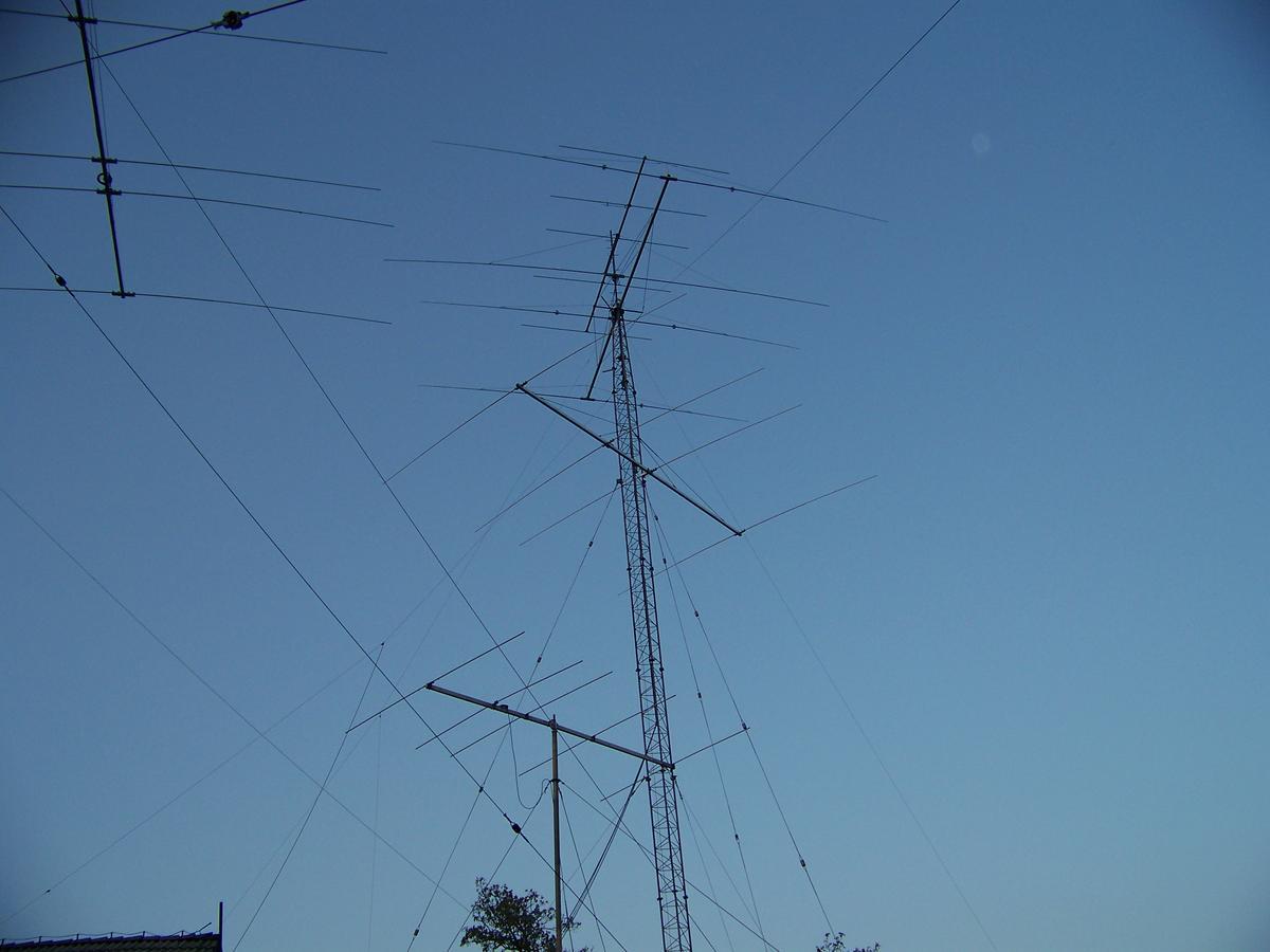 Towers with antennas.