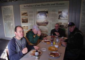 Enjoying breakfast in the 1887 Warrnambool Garrison Hall (from left) Shaun VK3VLY, Greg VK3UT, Robert VK3ARM and Mark VK3UA