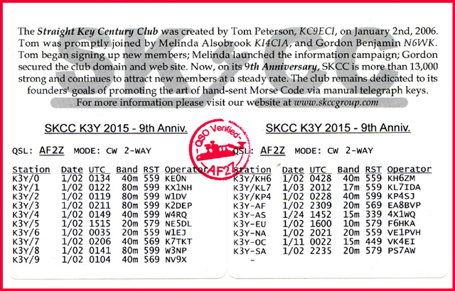 Example QSO Report on the K3Y QSL Card.