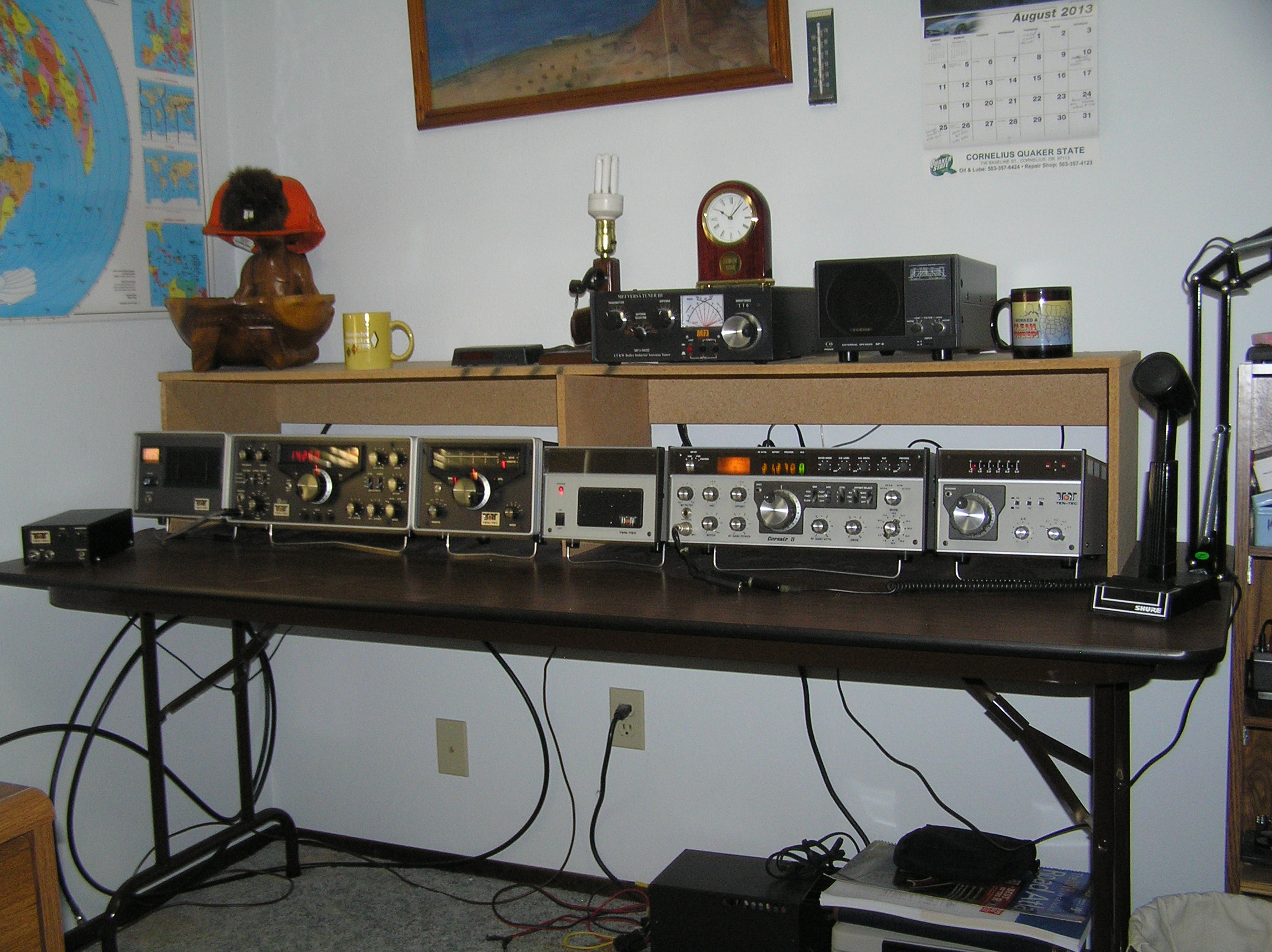 My back up stations going left to right. Consist of a Ten Tec Omni D series C and a Ten Tec Corsair II. The microphone used on both stations is a Sure 444D.