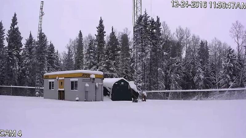 A winter time screen capture from the remote station security camera