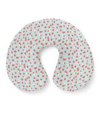 English Rose Pattern on Blue Travel Neck Pillow
