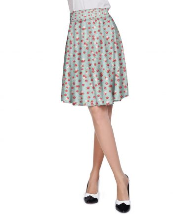 English Rose Pattern on Blue A-Line Skirt