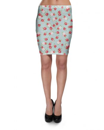 English Rose Pattern on Blue Bodycon Skirt