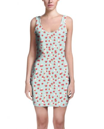 English Rose Pattern on Blue Bodycon Dress