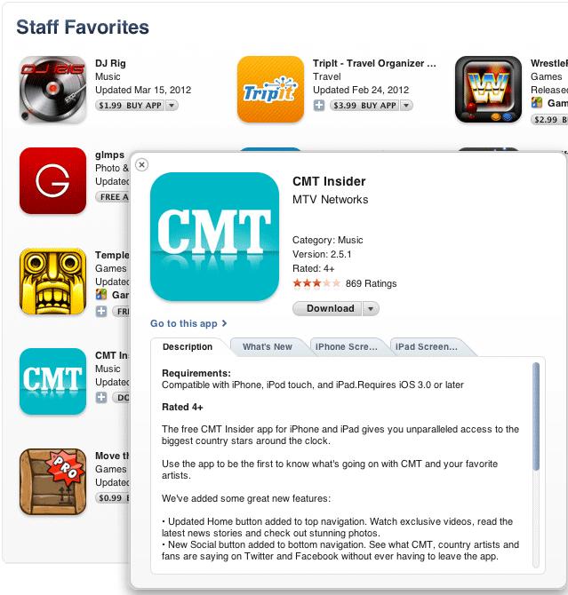CMT Insider App - Staff Favorite