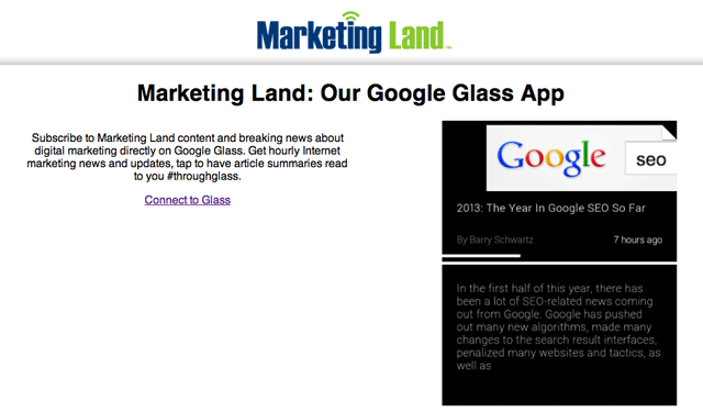 Glass  App Marketing Land - Connect