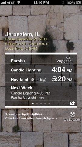Shabbat Shalom iOS App