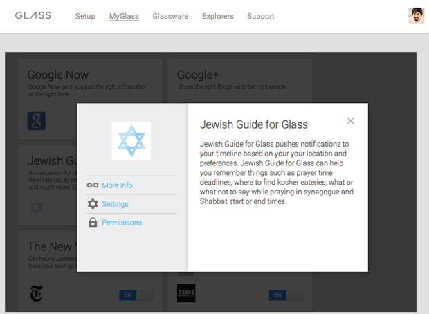 Google Glass MyGlass - Jewish Guide For Glass