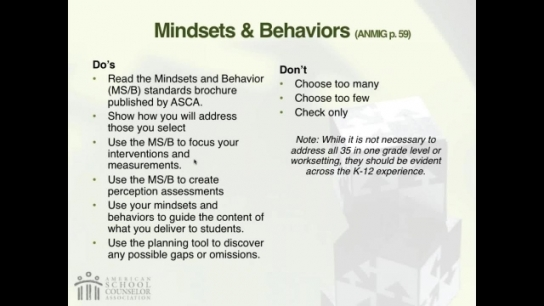 RAMP Scoring Rubric Webinar: Section 4 - ASCA Mindsets & Behaviors for Student Success