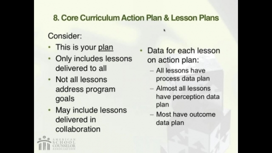 RAMP Scoring Rubric Webinar: Section 8 - School Counseling Core Curriculum Action Plan and Lesson Plans