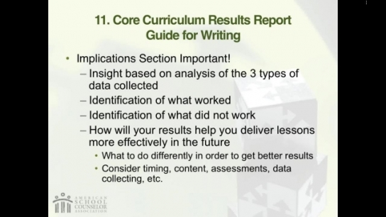 RAMP Scoring Rubric Webinar: Section 9 - School Counseling Core Curriculum Results Report